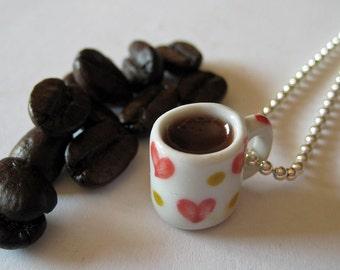 Coffee Necklace - Food Jewelry - Coffee Jewelry - Food Necklace - Coffee Lovers Gift - I Heart Coffee Mug