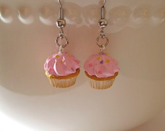 Pink Confetti Cupcake Earrings - Food Jewelry