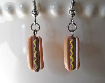 Food Jewelry - Ballpark Hot Dog Earrings with Mustard -  Polymer Clay Jewelry