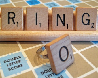 Wooden Scrabble Tile Letter Ring - Personalized Gift - Initial Ring