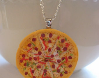 Food Jewelry, Pizza Necklace - Dollhouse Miniature Jewelry