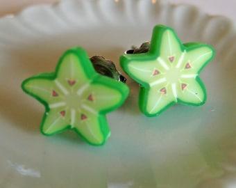Star Fruit Earrings - Food Jewelry - Polymer Clay - Food Earrings