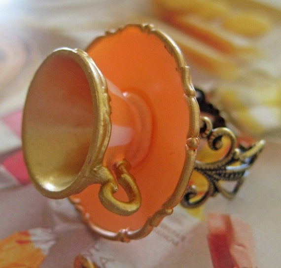 Teacup and Saucer Ring - Tangerine Citrus