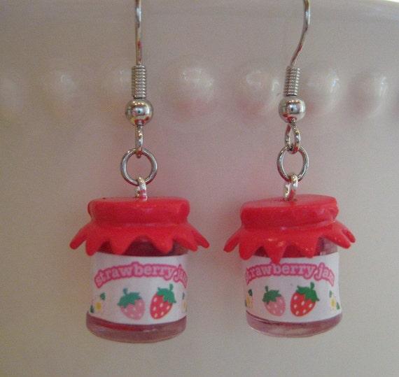 Strawberry Jam Jar Earrings - Mini Food Jewelry