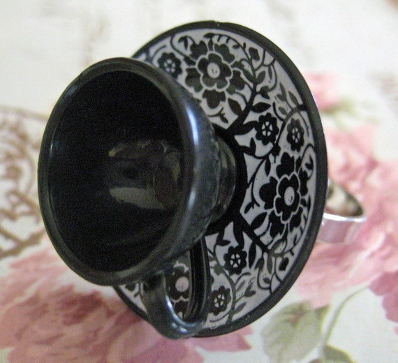 Black and White Victorian Tea Cup Adjustable Ring - Dollhouse Jewelry