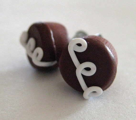 Hostess Chocolate Cupcake Earrings - Miniature Food Jewelry - Polymer Clay