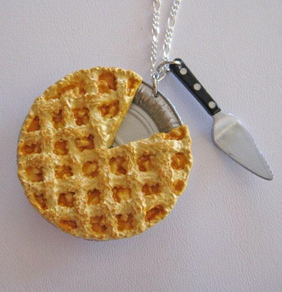 Food Jewelry, Apple Pie Necklace -Dollhouse Miniatures