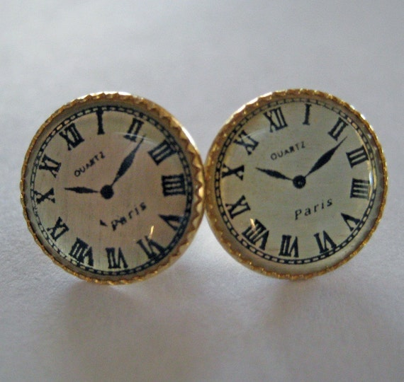 Paris Clock Earrings - Dollhouse Miniatures
