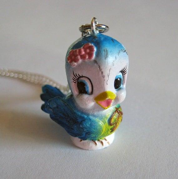 Bluebird Necklace - Vintage Lefton Replica, Kawaii Cute