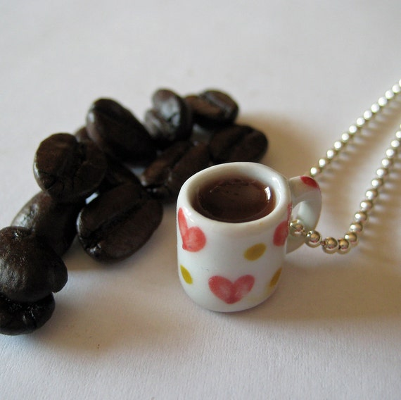 Cup of Coffee Necklace - Miniature Food Jewelry - I Heart Coffee Mug