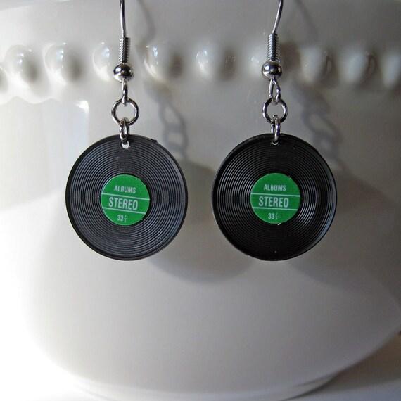 Vinyl Record Earrings, Dollhouse Miniature Jewelry