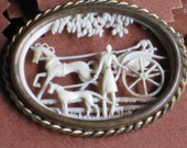 A Romantic Macabe Carriage Scene in Ivory Celluloid