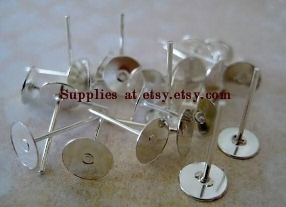 Special SALE 400pcs flat pad earstud 12mm x 6mm silver plated-silver ear post-earstud