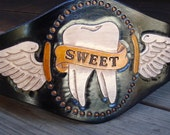 Sweet Tooth......Hand Tooled Black Leather Wings And Banner Belt