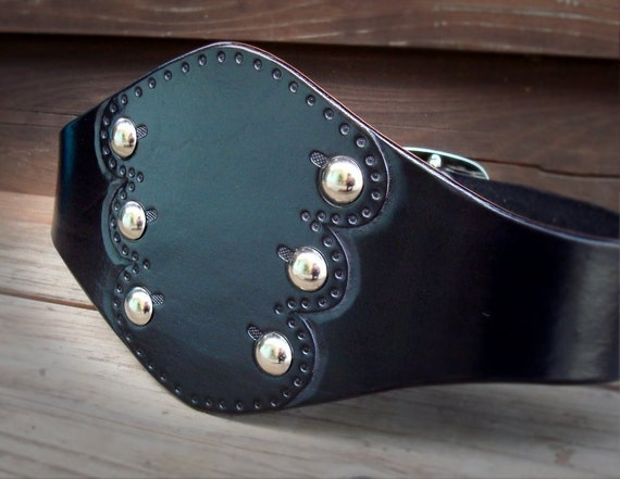 The Peacoat....Wide Studded Black Leather Belt