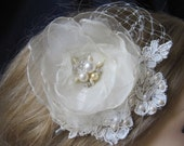 Ivory Bridal Flower,Russian veil and lace