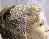 Bridal crystal hair bobby pin or comb, Birdcage Veil Fascinator,Ivory, light ivory