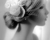 Bridal Fascinator Ivory  Wedding Head piece,Bridal hair accessories,rhinestones and lace