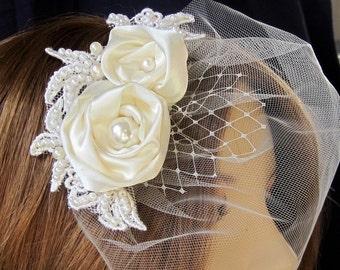 Bridal Hair Fascinator with Mini Veil in Light Ivory, Wedding accessories, Blusher Veil, Bridal Hair Flower
