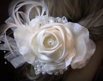 Wedding Hair Accessories, Bridal Hair piece, Bridal Ivory Hair Flower, birdcage veil