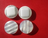 4 big white and silver shank buttons