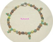 Handcrafted Mixed Gemstone Anklet with Drops