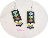 Native American Style Seed Bead Earrings Hand Woven