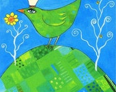 Bird on the Hill. Art print from my acrylic painting. crown patchwork blue green