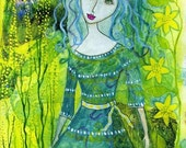 At One With nature. Art print from my mixed media painting.