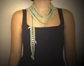 LIGHTGREEN... Crochet Necklace \/ Scarflette \/ Cuff