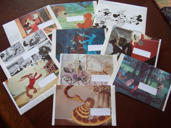 Set of 10 Upcycled Disney Book Images - Envelopes