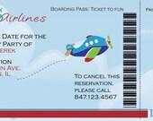 Airplane Boarding Pass Birthday Invitation