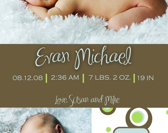 Custom Photo Birth Announcement  - Evan
