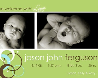Custom Photo Birth Announcement  - Jason