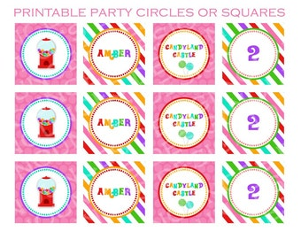 Candyland - DIY - Printable Party Circles or Squares