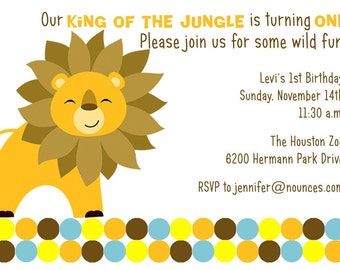 Birthday Party  Invitation - Lion - King of the Jungle