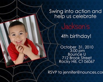 Cool Spiderman Birthday Invitation - With or Without Photo