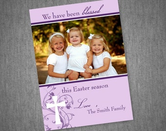 Cross and Flower Easter Photo Card