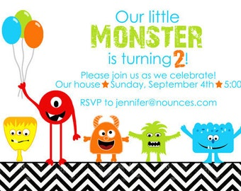 Birthday Invitation - Black and White Chevron Little Monster - With or Without Photo