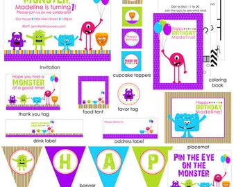 Girl Monster Birthday Party Package - With or Without Photo
