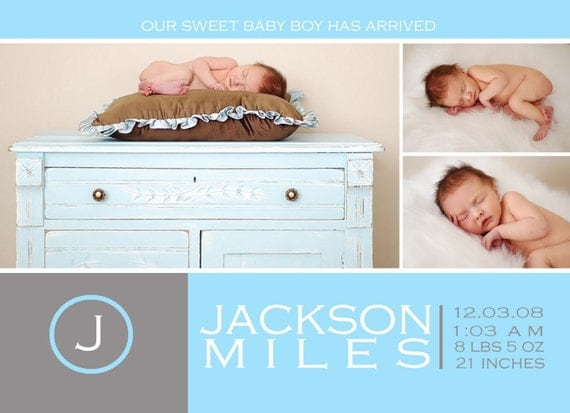 Custom Photo Birth Announcement -