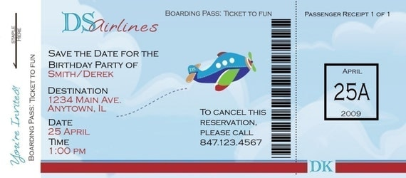 Airplane Boarding Pass Birthday Invitation