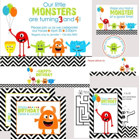 Monster Birthday Party Package - With or Without Photo