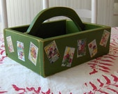 Green Vintage Seed Catalog Decoupage Basket/Caddy
