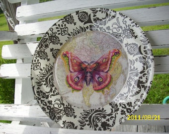 Butterfly/Map Black and White Damask Decoupage Plate