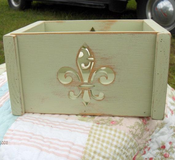 Small Sage Green Distressed Decorative Fleur de Lis Wooden Box