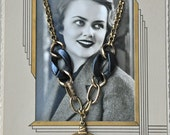 Vintage Black, White and Gold Necklace - I Love You