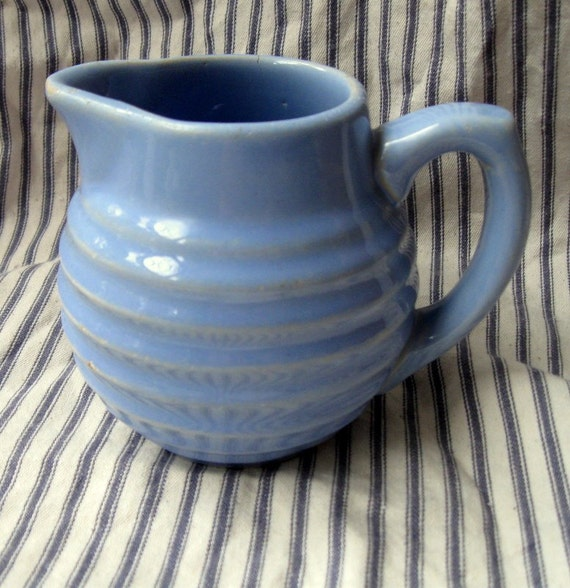 Vintage Blue Pottery Pitcher For Syrup Cream Or Vase