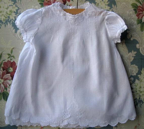 Vintage white baby dress handmade Phillipines with matching slip N6
