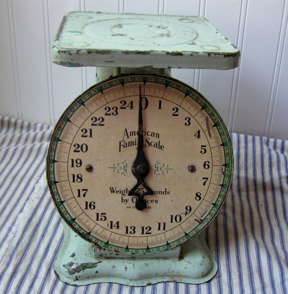 Vintage Kitchen Scale Aqua Green Mint Green By Hopeandjoyhome